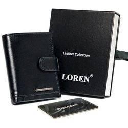Błyszczące, skórzane etui na karty z zapinką i kieszenią na banknoty — Loren