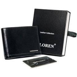 Cienki, błyszczący portfel męski bez zapięcia ze skóry naturalnej — Loren