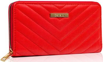 Duży portfel damski w kształcie piórnika z pikowanym zdobieniem — Cavaldi