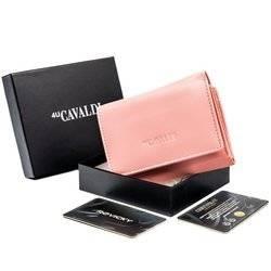 Mały, poziomy portfel damski ze skóry naturalnej, z ochroną RFID — Cavaldi