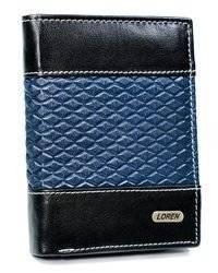 Piękny dwukolorowy portfel męski skórzany Loren® romby
