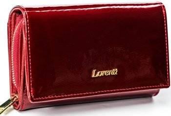 Piękny, lakierowany portfel damski ze skóry naturalnej, RFID — Lorenti