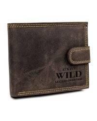 Poziomy portfel męski zapinany zatrzaskiem, skóra naturalna, Always Wild