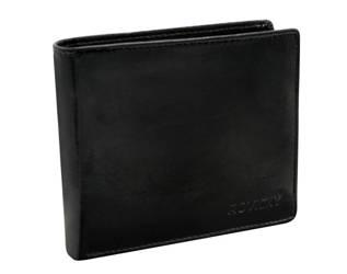 Składany, poziomy portfel skórzany z pojemną kieszonką na monety — Rovicky