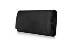 Skórzany portfel damski Solier P26 czarny RFID