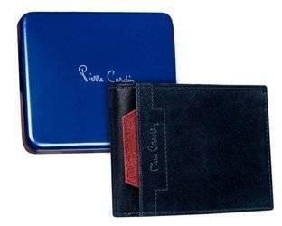 Skórzany portfel męski poziomy z czerwonym akcentem —  Pierre Cardin
