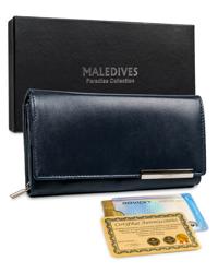 Zjawiskowy, duży, skórzany portfel damski z ochroną RFID — Maledives
