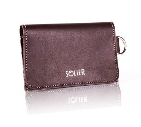 Cienki skórzany portfel męski/wizytownik SOLIER SW20 brązowy vintage
