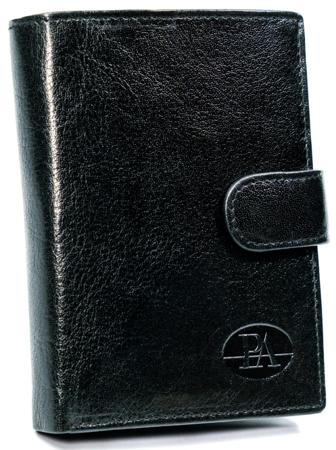 Codzienny portfel męski, pionowy portfel z zapięciem, skóra naturalna