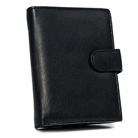 Klasyczny portfel męski ze skóry naturalnej - pionowy, z zapięciem