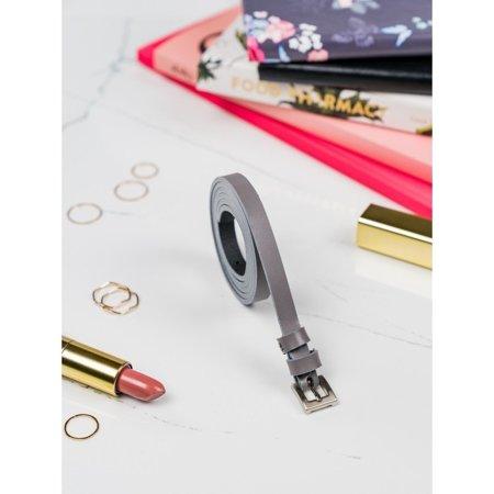 Klasyczny, wąski pasek damski ze srebrną, metalową klamerką