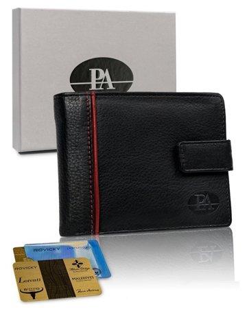 Poziomy czarny portfel męski z zapięciem ze skóry naturalnej — Pierre Andreus