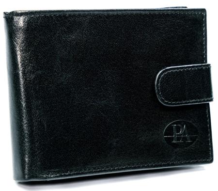 Poziomy, klasyczny portfel męski z zapięciem, skóra licowa, RFID Stop — Pierre Andreus