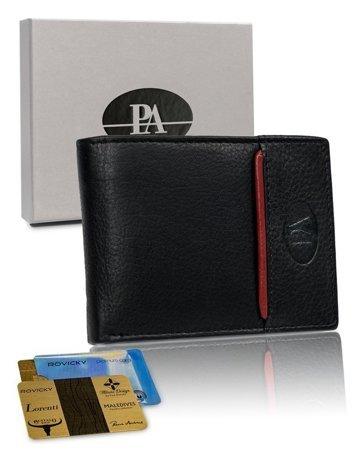 Poziomy, składany portfel męski z ozdobnym pionowym paskiem — Pierre Andreus