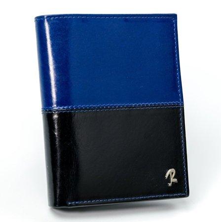 ROVICKY klasyczny portfel męski skórzany RFID stop D1072-VT2 BLACK-BLUE