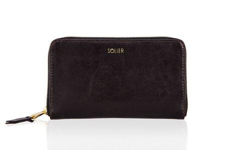 Skórzany portfel damski Solier P01 ciemny brąz