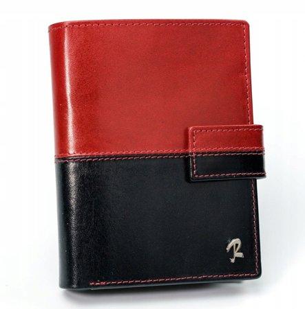 Skórzany portfel męski ROVICKY pionowy ze skóry N4L-VT2 BLACK-RED